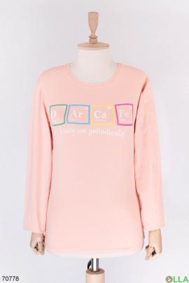 Женский светло-розовый свитшот с надписью