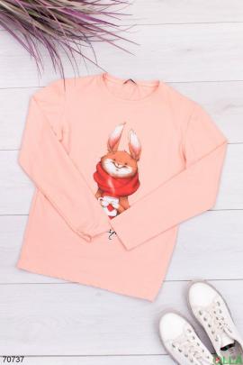 Женский светло-розовый свитшот с рисунком