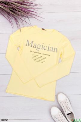 Женский желтый  свитшот с надпиью