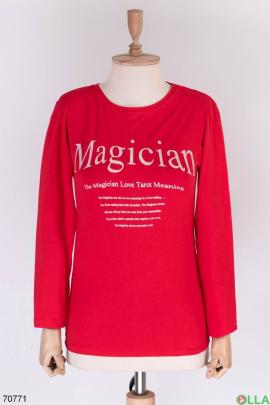 Женский красный свитшот с надписью