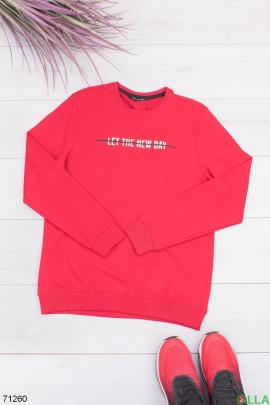 Мужской красный свитшот с принтом