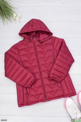 Женская бордовая куртка с капюшоном