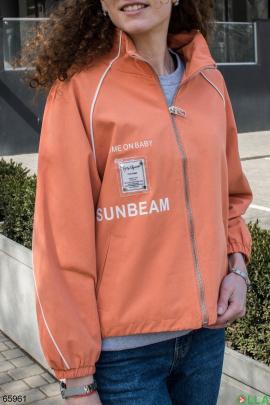 Женская оранжевая куртка на молнии