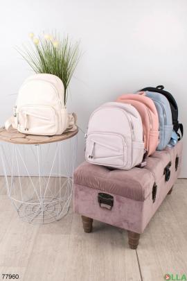 Женский рюкзак из эко-кожи молочного цвета