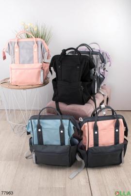 Женский серо-розовый рюкзак