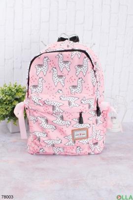 Женский розовый рюкзак в принт