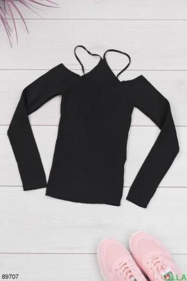 Женский черный топ с длинным рукавом