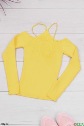 Женский желтый топ с длинным рукавом