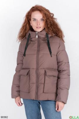 Женская коричневая зимняя куртка