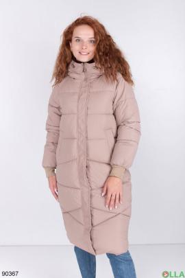 Женская бежевая зимняя куртка