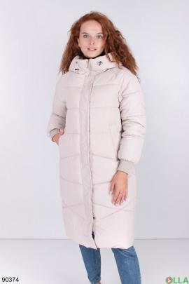 Женская светло-бежевая зимняя куртка