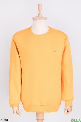 Мужской желтый свитшот на флисе
