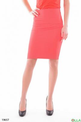 Женская юбка-карандаш в коралловом цвете