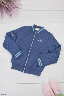 Женская темно-синяя куртка с голубыми вставками