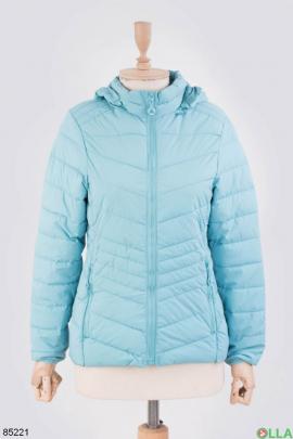 Женская голубая куртка с капюшоном