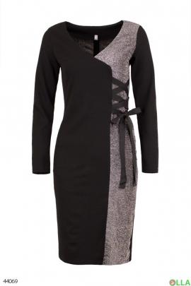 Женское черно-серебристое платье