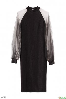 Женское черное платье с фатином