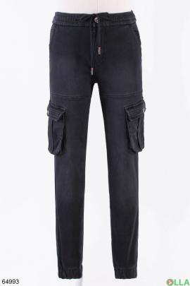 Мужские черные джинсы на флисе