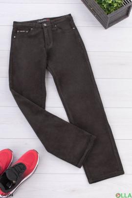 Мужские брюки цвета хаки на флисе