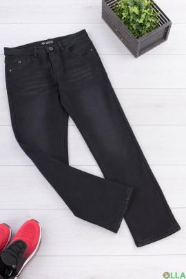Мужские темно-серые джинсы на флисе