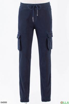 Мужские синие брюки на флисе