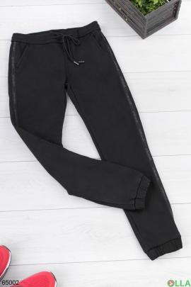 Мужские черные брюки на флисе
