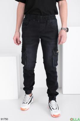 Мужские темно-синие джинсы-карго