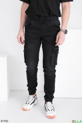 Мужские черные джинсы-карго