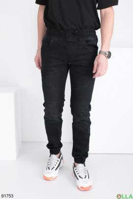 Мужские черные джинсы-джоггеры
