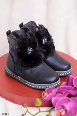 Синие ботинки с меховым декором