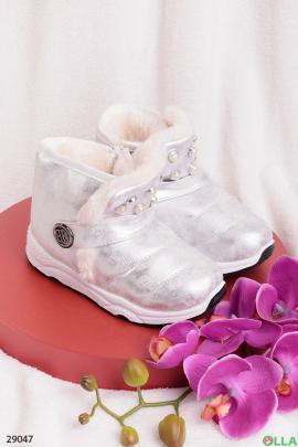 Ботинки серебристого цвета