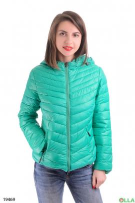 Женская куртка бирюзового цвета  с капюшоном