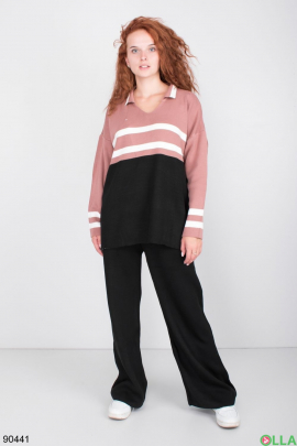Женский Черно-розовый трикотажный костюм