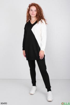 Женский Черно-белый трикотажный костюм