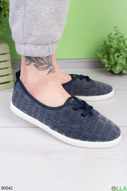 Женские синие кроссовки на шнуровке