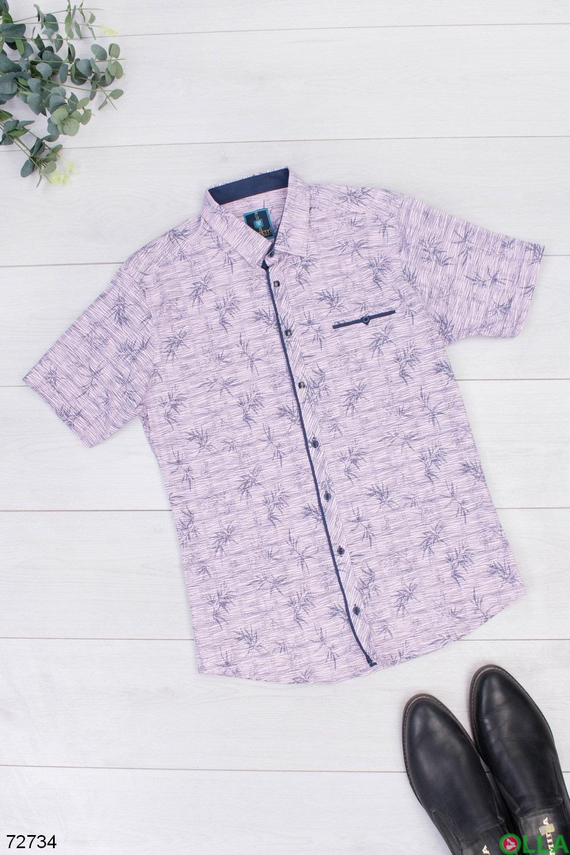 Мужская фиолетовая рубашка в принт