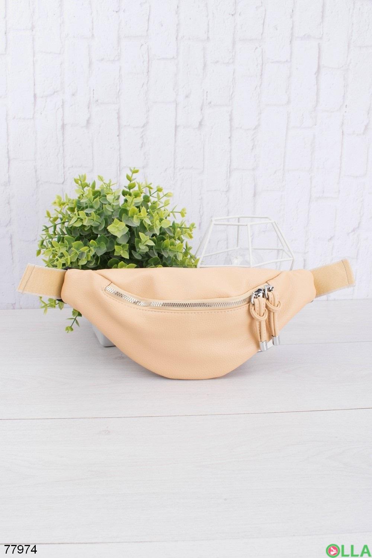 Женская желтая сумка-бананка из эко-кожи